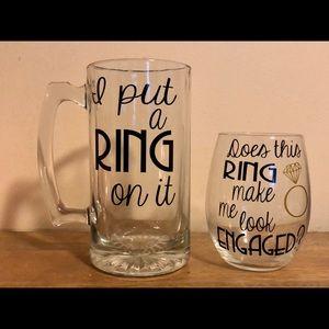 Engagement Mug and Wine Glass